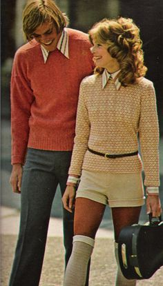 August 1971. 'More paprika sprinkles the same-shape-but-dottier jacquard sweater and the shirt too… her teammate here is shorter yet — hotpants of creamy knit.'