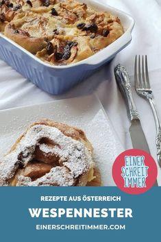 Diese Süßspeise aus Österreich ist ein Klassiker der Familienküche und schmeckt Kindern wie Eltern. Das einfache Rezept ist schnell gemacht und gehört zu den liebsten Mehlspeisen meiner Kinder.   #einerschreitimmer #rezepte #Österreich #familienküche #kochemitKindern #wespennester #Mehlspeisen #süßspeisen Apple Pie, French Toast, Muffin, Breakfast, Easy, Desserts, Food, Kid Cooking, Recipes For Children