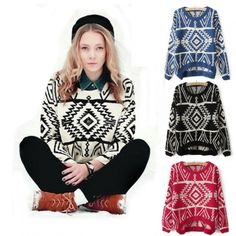 Women Loose Sweater Geometry Design Printed Long Sleeve Pullovers Big Size