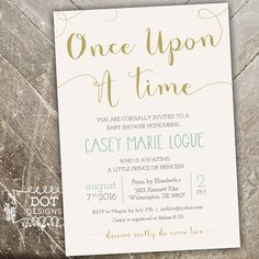 Once Upon a Time  Baby Shower Invitation  Mint by MBdotDesigns