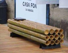 Vida-EcoVerde : Banco Verde III, realizado con cañas de bambú / Ag...