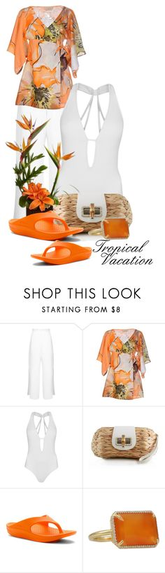 """""""Tropical Vacation (2)"""" by queenrachietemplateaddict ❤ liked on Polyvore featuring Miss Selfridge, FISICO Cristina Ferrari, JETS, Reception, Telic, Irene Neuwirth, white, orange and tropical"""