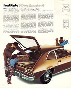 Ford 1974 Pinto Sales Brochure Ford Pinto, Military Jeep, Mclaren Mercedes, Chrysler Jeep, Ford Models, Cutaway, Exterior Colors, Cadillac, Morning Suits