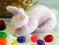 Knitted Bunny bunny from a square from http://www.heartstringsfiberarts.com/knittedbunny.pdf