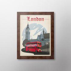 Quadro Com Moldura Tabaco Pôster Londres - 46x36cm - On The Wall