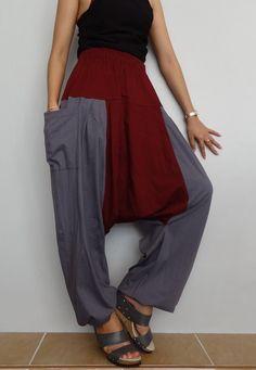 Gray & Red Maroon Drop crotch long trouser,Unisex harem Baggy pants, unique cotton blend (Drop pants-29). by Brightfashion on Etsy