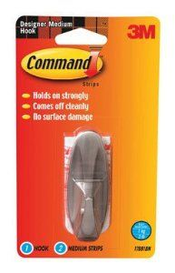 3m 17081BN Designer Hook with Strips - Brushed Nickel (Pack of 4) by Command. $15.99. COMMAND DESIGNER HOOK WITH STRIPS   * Medium  * Brushed nickel  * Adhesive mount  * Each hook holds up to 3 pounds  * Package includes 1 medium hook and 2 removable adhesive strips  * Holds securely, comes off cleanly and no surface damage  * Card of 1