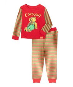 Loving this Red & Brown Corduroy the Bear Pajama Set - Infant, Toddler & Kids on #zulily! #zulilyfinds