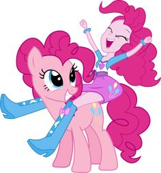 Human Pinkie Pie riding on Pony Pinkie Pie