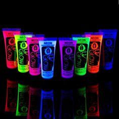 8 x 10ml UV-Bodypaint Körpermalfarben Schwarzlicht fluoreszierende Schminke Bodypainting Neon Farben Leuchtfarben: Amazon.de: Beauty