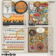 Robotrix collection at Oscraps - so bright and colorful! $9.99
