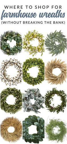 Where to find the best sales and deals on farmhouse wreaths - PLUS 16 farmhouse wreath options that are under $60. You won't want to miss these decor picks before you buy your next wreath!