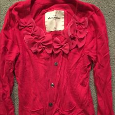 Abercrombie kids hot pink cardigan Great condition, Abercrombie kids, hot pink with rose appliqué on collar, size XL fits like an XS women's Abercrombie Sweaters Cardigans