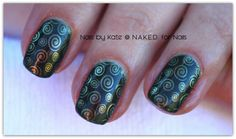 CND Shellac in Pretty Poision and stamping with CND VINYLUX in Gilded Pleasure Please like my page... https://www.facebook.com/pages/NAKED-for-Nails/275810699197678