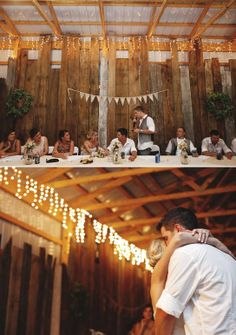 Love this barn setting for a wedding especially the lights and bunting... I want something this simple