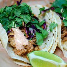 """@doc_ponds """"Lunch special today! Chili and beer-braised pulled pork tacos, with smokey crema and slaw. We also have some awesome sweet potato tacos with an herb…"""""""
