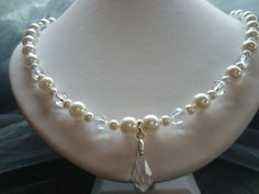Necklace  Snow White  Pearl/Crystals  by showoffjewels on Etsy, £159.00