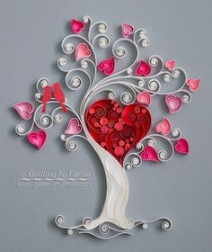 quilling, quilling art, paper, paper art, design. wall art, quilling wall art, love tree, квиллинг, бумага, дизайн by sallie