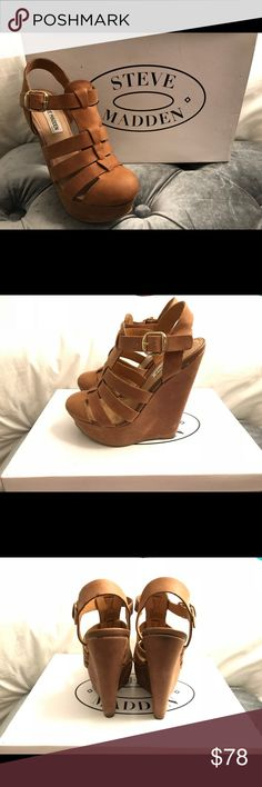 Steve Madden Wedges Like New - worn once Color - congac Original box Steve Madden Shoes Wedges