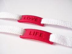 Sneakers lacelocks pink Love Life - Pink Shoe lace locks - Shoe lace charms - 3D printing