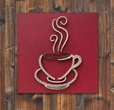 String art coffee, coffee cup wall hanging, strings and nails art, red coffee cup by TheStringArtStudio on Etsy https://www.etsy.com/listing/252736140/string-art-coffee-coffee-cup-wall