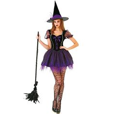 Witch, Please! Hauntlook's witch sisters have whipped up something new! Three ingredients mixed together in a bubbling cauldron make the perfect witch costume: Dogtooth violet, cobwebs, and glitter! Here it is: the Wicked Witch costume. Wicked Witch Costume, Witch Costumes, Sexy Halloween Costumes, Halloween Dress, Adult Costumes, Halloween Fun, Halloween Clothes, Witches Costumes For Women, Fairytale Dress