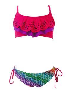 Traje de baño colorido de dos partes para niñas www.bariswimwear.com