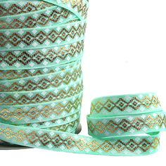 Free shipping pastel green foil gold printed elastic aztec tribal fold over…