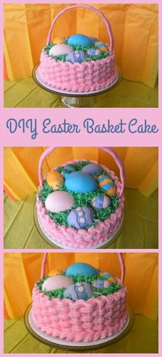Create This DIY Easter Basket Cake: Instead of a store bought Easter basket this year why not make a sweet edible version? You can create this DIY Easter basket cake put your Easter goodies on for Easter morning, or serve it up to yo… Easter Cupcakes, Easter Cookies, Easter Treats, Easter Desserts, Easter Recipes, Easter Snacks, Basket Weave Cake, Cake Basket, Easter Brunch