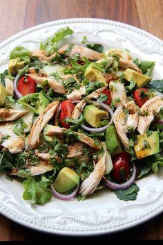 Chicken and vegetable salad with balsamic cilantro dressing.mixed greens, avocado, tomato, cucumber, onions and balsamic cilantro dressing - a great way to use chicken leftovers for a delicious lunch salad. Healthy Dinner Ideas for Delicious Night & Get A Homemade Chicken Salads, Chicken Recipes, Paleo Recipes, Cooking Recipes, Avocado Recipes, Yummy Recipes, Cilantro Dressing, Clean Eating, Healthy Eating