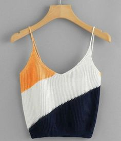 Casual Cami Regular Fit Spaghetti Strap and V neck Multicolor Crop Length Color Block Knit Cami Top - DIY Knitting Beach Outfits Women Summer, Beach Outfits Women Plus Size, Cute Beach Outfits, Summer Beach, Miami Beach, Outfit Summer, Winter Beach, Fall Winter, Pull Crochet