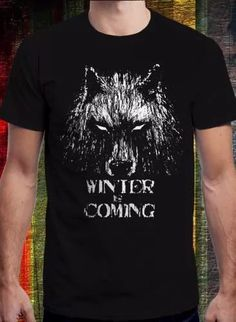remera game of thrones, winter is coming lobo  -got