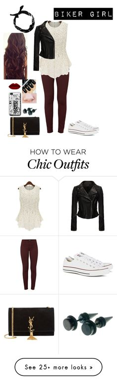 """biker chic"" by alicia-lover on Polyvore featuring J Brand, Yves Saint Laurent, Converse, women's clothing, women's fashion, women, female, woman, misses and juniors"