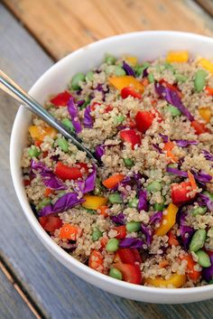 This beautiful veggie-packed quinoa salad is under 350 calories, offering 13 grams of protein and seven grams of fiber.