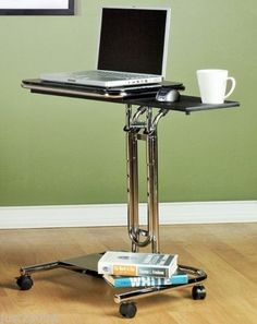 Rolling Laptop Desk Computer Cart Portable Table Notebook Office Home Furniture in Computers/Tablets & Networking, Laptop & Desktop Accessories, Stands, Holders & Car Mounts | eBay