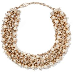 Valentino Gold-tone, faux pearl and crystal necklace ($1,223) ❤ liked on Polyvore featuring jewelry, necklaces, imitation pearl necklace, faux pearl necklace, crystal stone jewelry, fake pearl necklace and crystal necklace
