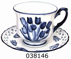 Delft Blue Cup & Saucer, Embossed Tulip