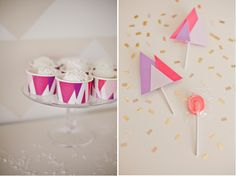 Custom ice cream cups and lollipop covers for a Winter Wonderland birthday dessert table by Shauna Younge | Sweet Tooth (pic: Angela Rose Ph...