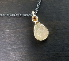 Tiny Drusy Citrine Choker Necklace 14k Gold by someplaceelsewhere, $270.00