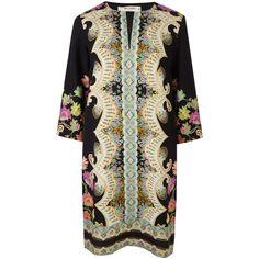 Etro Black Swirl Floral Kaftan Dress ($1,675) ❤ liked on Polyvore featuring black kaftan and etro