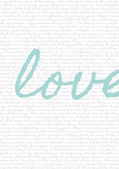"printable.... also have the option for red pink or green. the background is the ""love is"" scripture from 1 Corinthians 13. love it!"