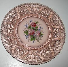 Beautiful-Vintage-Pink-Depression-Glass-8-Decorated-Rose-Display-Plate