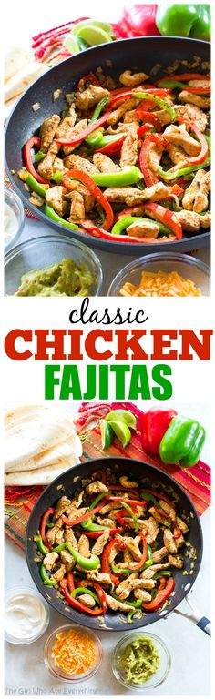Classic Chicken Fajitas - full of flavor, seasoned to perfection, and just what you want when you're craving fajitas. the-girl-who-ate-everything.com