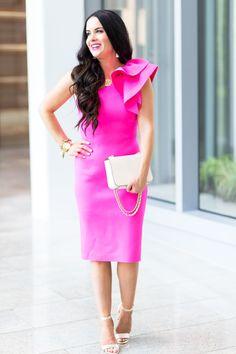 Weekend Wedding Style | Hot Pink & Floral Dresses Hot Pink Dresses, Pink Floral Dress, Floral Dresses, Summer Work Dresses, Eliza J Dresses, Girl Blog, Wedding Styles, Style Inspiration, Wedding Dresses