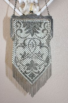VINTAGE Signed Mandalian Mesh Vintage Purse Bag in White, Grey, and Black Silvertone Metal on Etsy, $95.95