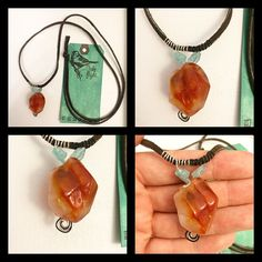 Long Unisex Chocolate Brown Leather Necklace with Large Carnelian Stone & Rough Apatite Wire Wrapped Nuggets TAKE FLIGHT by TakeFlightStudioWA on Etsy