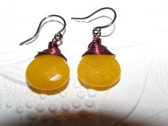 Yellow Jade Faceted Flat Briolette  by AStyleEveryday