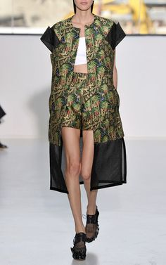 New York Fashion Week, preorder TOME Spring 2015 Runway Trunkshow Look 15 - Black Print Relief Effect Jacquard Shorts, Optical White Double Poplin Top and Black Print Relief Effect Jacquard Coat