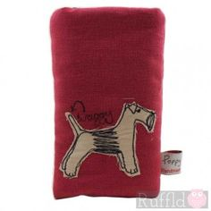 Phone Case in Red with Dog Design by Poppy Treffry