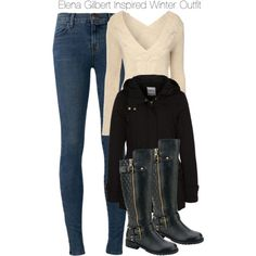 Elena Gilbert Inspired Winter Outfit by staystronng on Polyvore featuring Jane Norman, ONLY, J Brand, Winter, tvd and ElenaGilbert